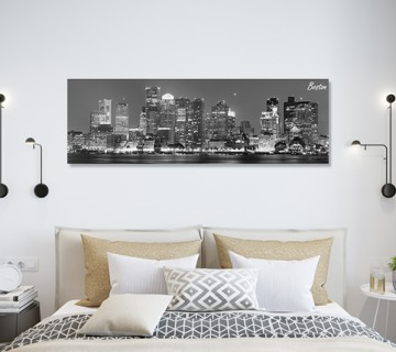 Black & White Boston Night Shot Cityscape Canvas