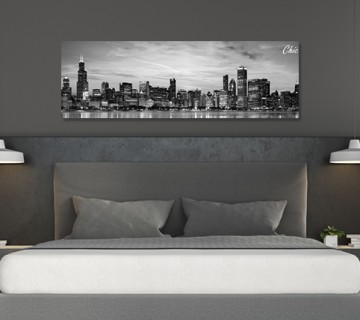 Black & White Chicago Night Shot Cityscape Canvas