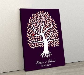Wedding Guest Book Canvas Dark Purple