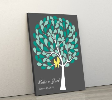 Wedding Guest Book Canvas Green
