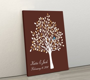 Wedding Guest Book Canvas Brown