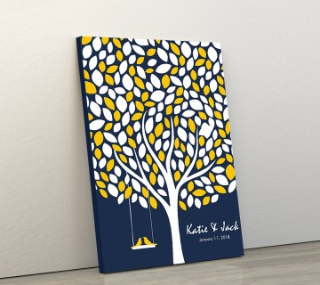 Wedding Guest Book Canvas Blue