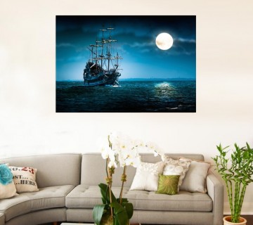 Sea Charm - Full Moon Sailing Boat on the Sea in Mystic Color Landscape