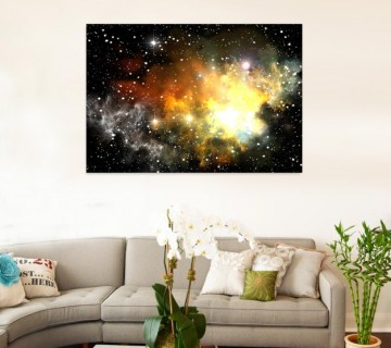 Sky Glow in the Dark, Dual View Surprise Artwork Modern Framed Ready to Hang Wall Art
