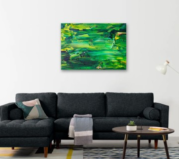 Nature green colour abstract art printing reprinted on Canvas