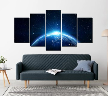 Sunrise on earth 5 panel canvas wall art multi canvas wall art