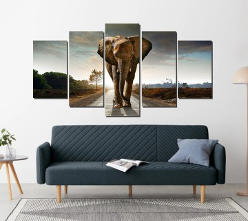 The Elephant on the road - 5 Panel Stretched Canvas Wall Art Print