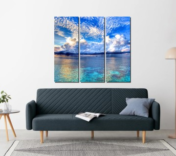 Tropical blue water and clouds at its best  - multi panel canvas art