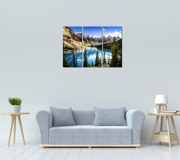 3 and 5 Panel Moraine Lake and Mountain Range Alberta Canada Landscape Mountain & Lake