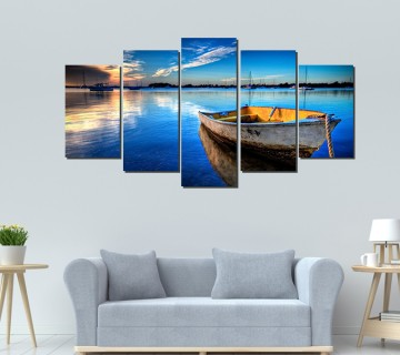 5 Panels Canvas Print  Wall Art Boat at Blue Sea Picture Prints on Canvas Modern Landscape