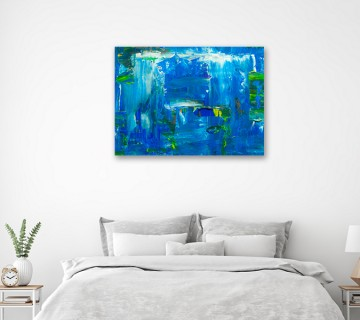 Blue abstract art reprinted on canvas