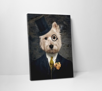 Australian Terrier with Suit and Hat