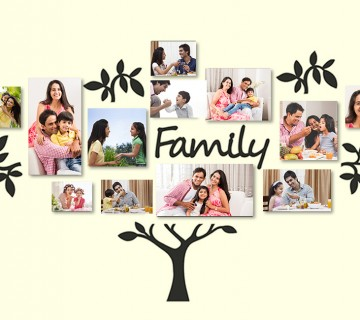 "CanvasBubble 19-Piece Eye-Catching Collage ""Family"" Tree Picture Frames, 72x45-inches - Set of 17"