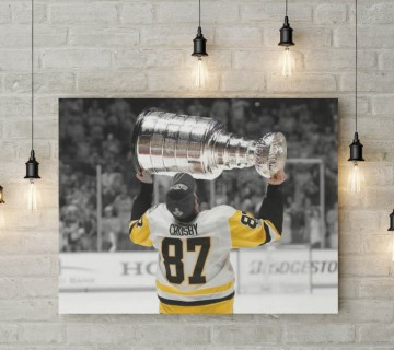Sidney Crosby 3-Time Stanley Cup Champion Pittsburgh Penguins Canvas Frame / Acrylic Print