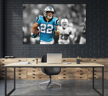 Christian McCaffery Carolina Panthers unsigned Canvas frame