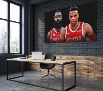 James Harden x Russell Westbrook Houston Rockets NBA 2019 Canvas frame / Acrylic Print