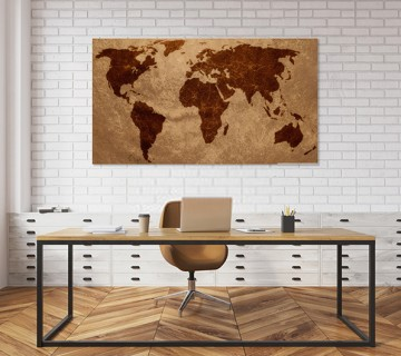 Dark Brown - World Map canvas frame multi color push pin and personalized name and text