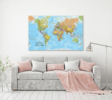 Sky blue multicolor - World Map canvas frame multi color push pin personalized name and text