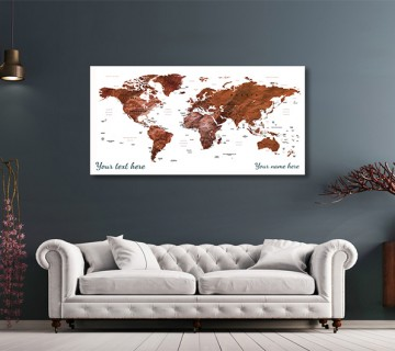 Brown - World Map canvas frame with multi color push pin and personalized name and text