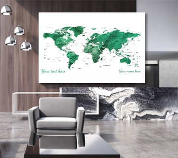 Green - World Map canvas frame with multi color push pin and personalized name and text