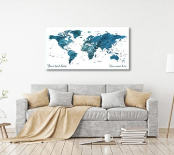 Blue - World Map canvas frame with multi color push pin and personalized name and text