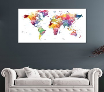 Multi Color - World Map canvas frame with multi color push pin and personalized name and text