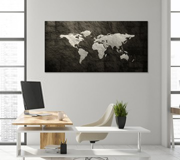 Dark Grey - World Map canvas frame with multi color push pin and personalized name and text
