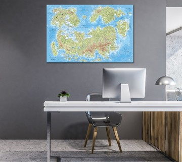 Green Blue - World Map canvas frame with multi color push pin and personalized name and text
