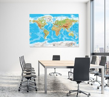 Blue Green - World Map canvas frame with multi color push pin and personalized name and text