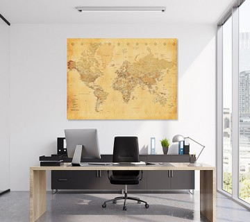 Pale Yellow - World Map canvas frame multi color push pin and personalized name and text