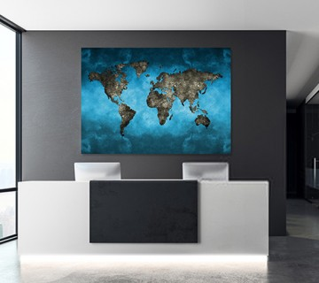 Navy Blue - World Map canvas frame with multi color push pin and personalized name and text