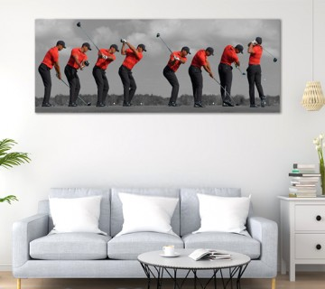 Golf Swing Sequence of Tiger Woods Panoramic Canvas Frame