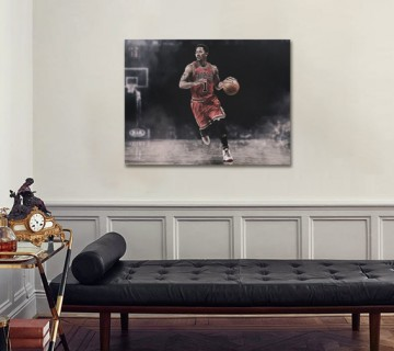 Derrick Rose, Black and White Canvas Frame, Canvas wall art Canvas wall decor