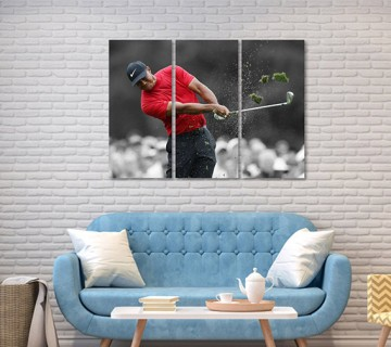 Tiger Woods Wins Masters 2019 Tournament, Canvas Frame, 3 Piece Canvas, canvas wall art ,canvas wall decor