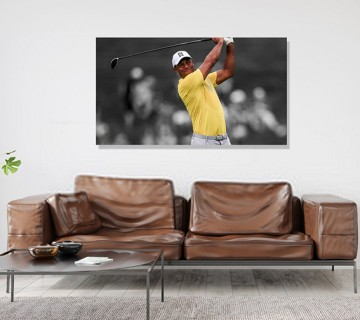 Tiger Woods powerful shot world Champion Yellow T-shirt Canvas Frame, canvas wall art