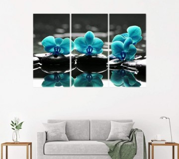 Blue Orchid Flower Wall Decor on Canvas Wall Art for Living Room Bedroom Home Office