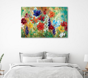 Wildflower Fresco I Wrapped and Stretched Canvas Wall Art