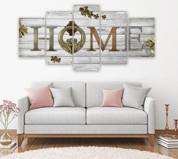 Home Decoration Large 5 Panels Rustic Wood Canvas Print Modern Wall Art in various sizes