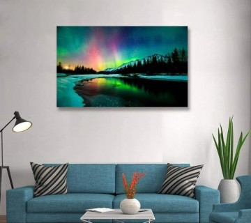 Canvas Bubble Aurora Scenery Painting on Canvas Stretched Ready to Hang