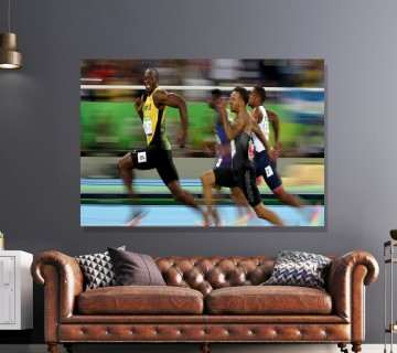 Usain Bolt Iconic Olympics Sports Canvas Frame, Canvas Wall Art Ready To Hang