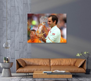 Roger Federer Winning Trophy Canvas Wall Art, Roger Federer Digital Art / Acrylic Print