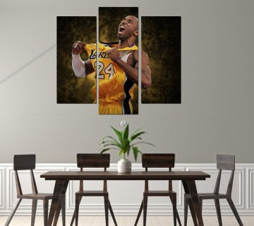 Kobe Bryant Black Mamba Canvas Wall Art Poster Los Angeles Lakers, 3 Panel canvas, Basketball Canvas Frame
