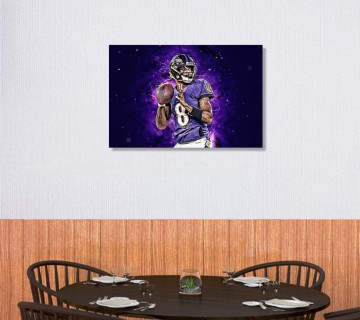 Lamar Jackson Canvas Wall Art, Sports Canvas Frame / Acrylic Print