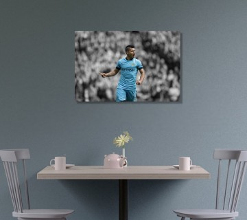 Sergio Aguero Celebration Canvas Wall Art , Football Canvas Frame / Acrylic Print
