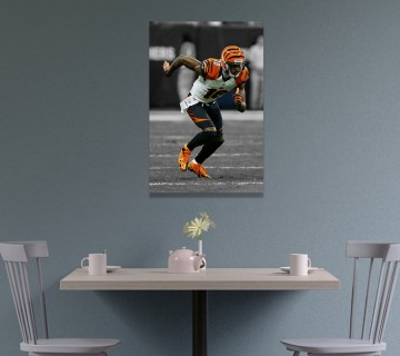 AJ Green Poster Canvas Framed Wall Art, Canvas Frame / Acrylic Print
