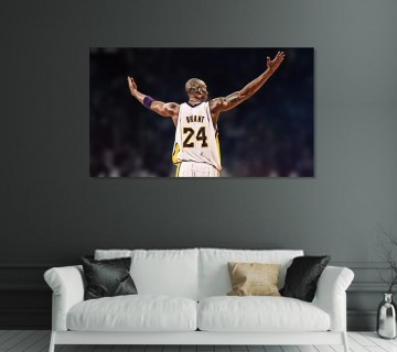 Kobe Bryant Canvas Wall Art Los Angeles Lakers, Basketball Canvas Frame / Acrylic Print
