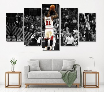 Jimmy Butler Poster 5 Panel canvas wall art, 5 Piece Canvas Wall Display