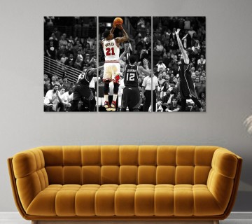 Jimmy Butler Miami Heat Poster Canvas Wall Art, 3 Piece Canvas Wall Display, NBA Canvas Print