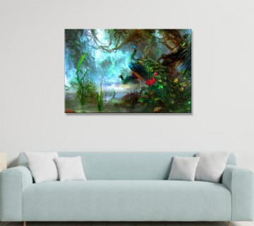 Two Peacocks Walk in Forest Pictures Print On Canvas Animal The Picture for Home Modern Decoration