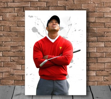 Tiger Woods powerful shot world Champion Red T-shirt Canvas Frame, canvas wall art
